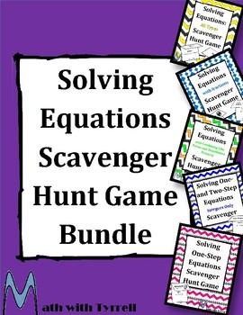 Solving Equations Scavenger Hunt Bundle