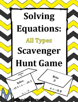 Solving Equations Scavenger Hunt Game