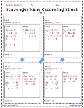 Solving Equations Scavenger Hunt Level 1 (7.EE.4 / 8.EE.7)
