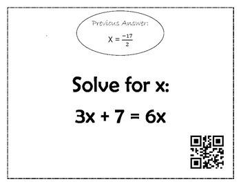 Solving Equations Scavenger Hunt *QR CODE*