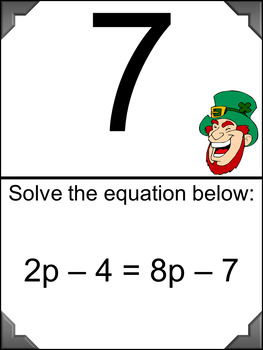 Solving Equations - Scavenger Hunt - with Application Problems