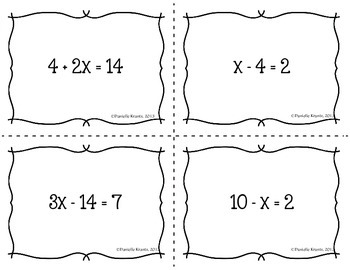 Solving Equations Seating Cards