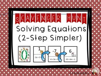 Solving Simpler 2-step Equations Scavenger Hunt