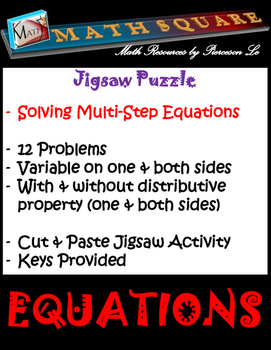 Solving Multi Step Equations Jigsaw Puzzle