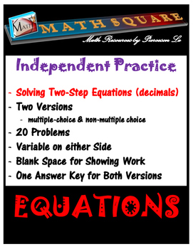 Solving Two Step Equations Independent Practice Decimals