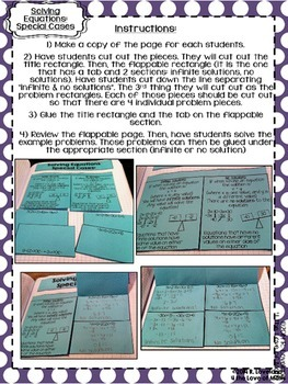 Solving Equations: Special Cases Foldable Page