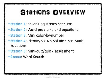Solving Equations Stations