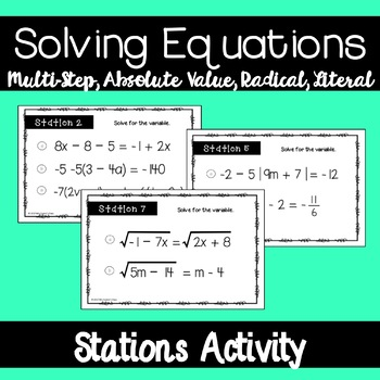 Solving Equations Stations Activity