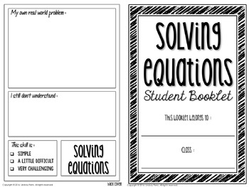 Solving Equations Student Booklet