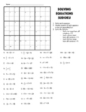Solving Equations Sudoku