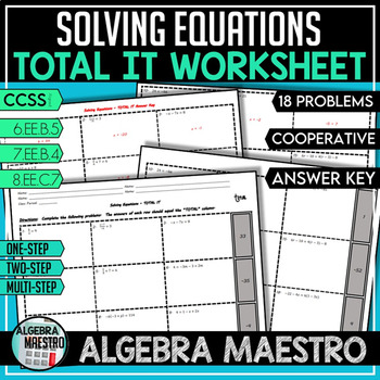 Solving Equations - TOTAL IT Worksheet