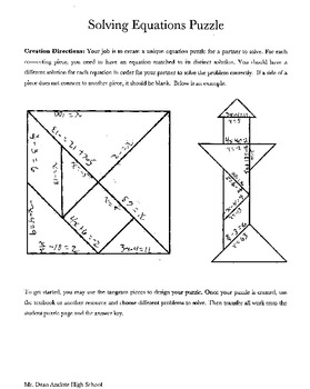 Solving Equations Tangram Puzzle By Brian Dean Tpt Simple Substitution Worksheet Solving Equations Tangram Puzzle