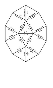 Solving Equations Tarsia Puzzle-Answer Key