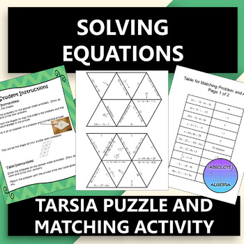 Solving Equations Tarsia Puzzle OR Matching Activity
