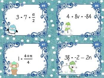 Solving Equations Task Card Bundle