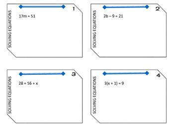 Solving Equations Task Cards