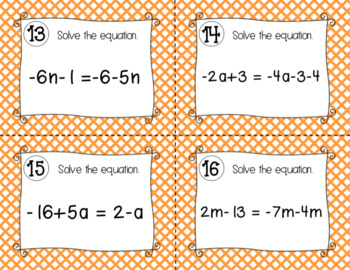 Solving Equations - Task Cards