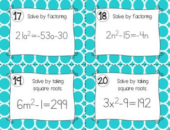 Quadratic Equations - Task Cards