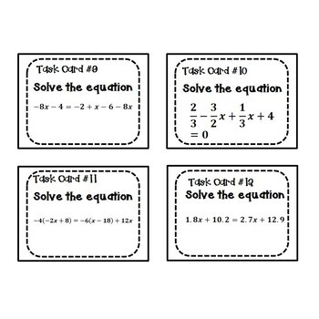 Solving Equations Task Cards {Multi - Step} 8.EE.7