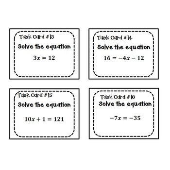 Solving Equations Task Cards {One and Two Step} 6.EE.7 and 7.EE.4