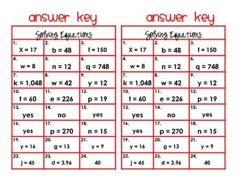 Solving Equations Task Cards and Recording Sheets CCS 6.EE.7