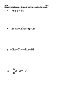 Solving Equations Test