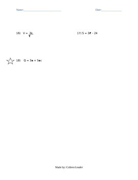 Solving Equations Test Practice