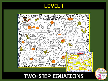 Solving Equations Thanksgiving Algebra Mazes 3 Differentiated Levels