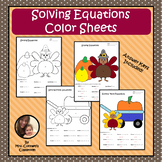 Solving Equations Thanksgiving Turkey Color Sheets