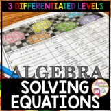 Thanksgiving Algebra Solving Equations Activity (3 Differentiated Levels)