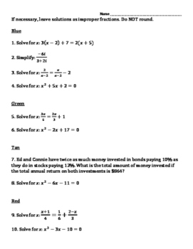 Thanksgiving Solving Equations  Review