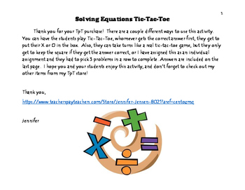 Solving Equations Tic-Tac-Toe