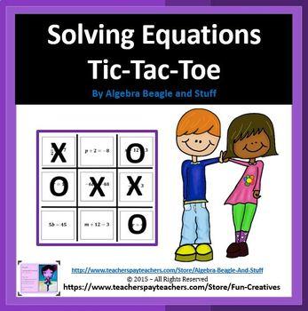 Solving Equations Tic Tac Toe Game