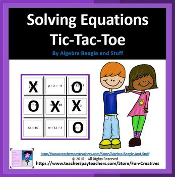 Solving Equations Tic Tac Toe Game