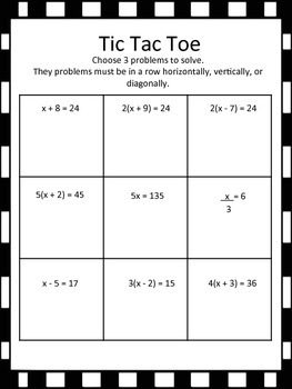 Solving Equations Tic Tac Toe (one-step, distributive property)