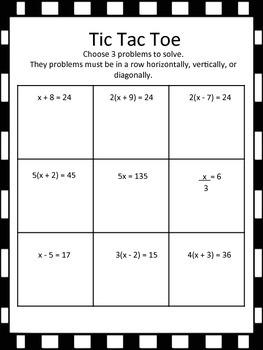 Solving Equations Tic Tac Toe (one-step, distributive property)