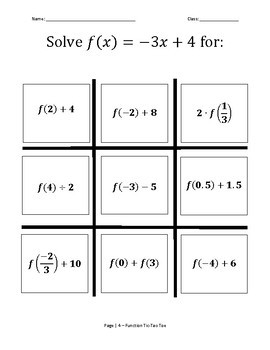 Solving Equations Tic Tac Toe Game using f(x) and g(x).