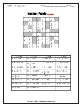 Solving Two-Step Equations Number Puzzle