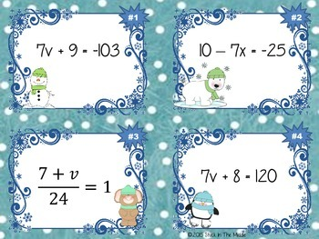 Solving Equations: Two-Step Task Cards