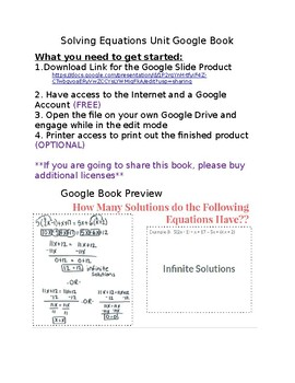 Solving Equations Unit Google Book