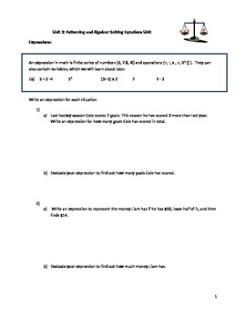 Solving Equations Unit Package