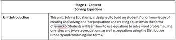 Solving Equations Unit Plans