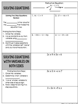 Solving Equations Unit -  8th Grade Standard Go Math
