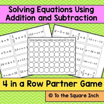 Solving Equations Using Addition and Subtraction Game