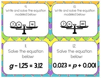 Solving Equations Using Addition or Subtraction Task Cards