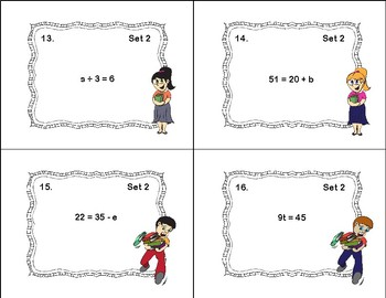 Solving Equations Using All Four Operations- Algebra-80 Task Cards
