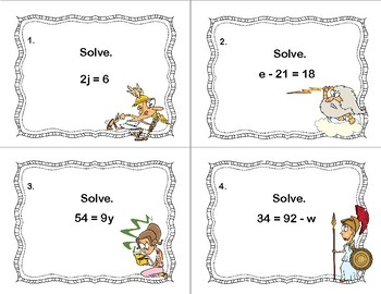 Solving Equations Using All Four Operations- Algebra-Task Cards-Greek Gods
