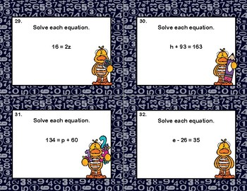Solving Equations Using All Four Operations- Algebra-Task Cards-Math Ducks