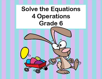 Solving Equations Using All Four Operations- Algebra-Task Cards-Spring
