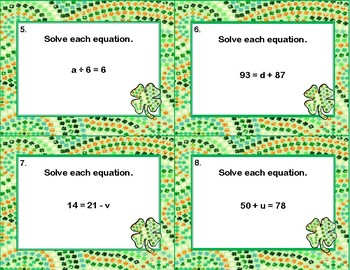 Solving Equations Using All Four Operations- Algebra-Task Cards-St. Patrick's